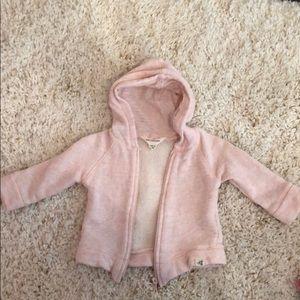 Like new Burt's bees baby soft pink zip up 3-6m